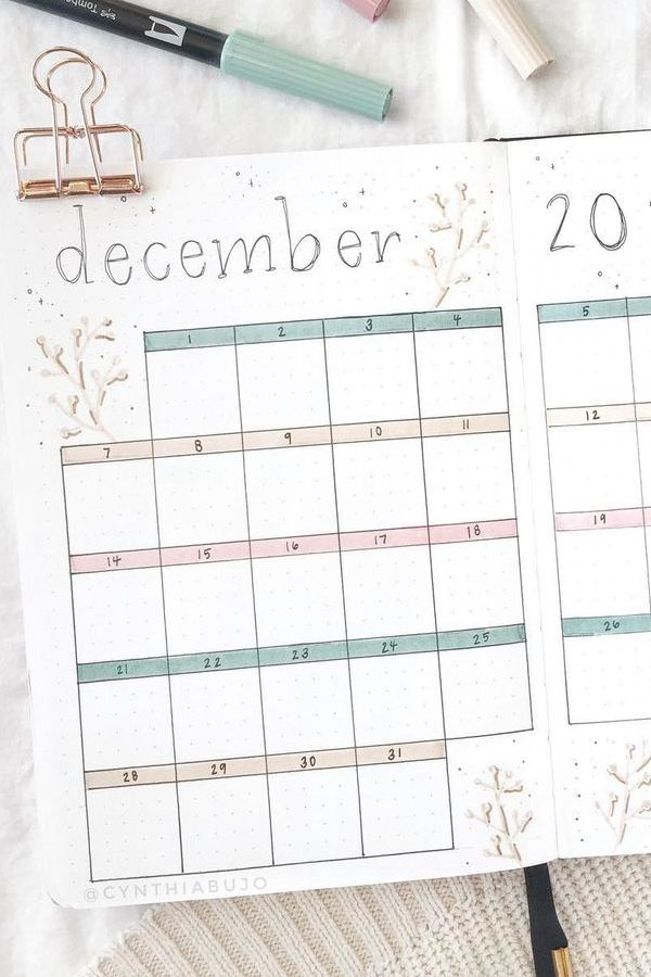 Pastel Monthly Spread - December Bullet Journal Ideas - Monthly Pages for December