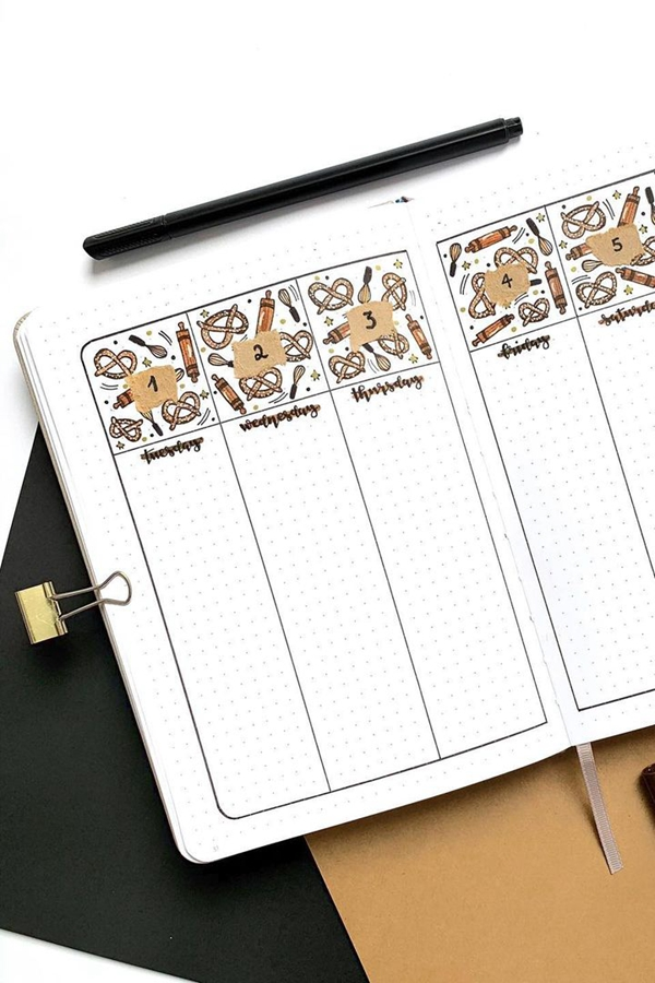 Pretzel Headers with Long Dated Boxes - December Bullet Journal Ideas - Weekly Spread for December