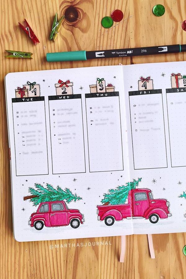 Red Truck December Weekly Spread - December Bullet Journal Ideas - Weekly Spread for December