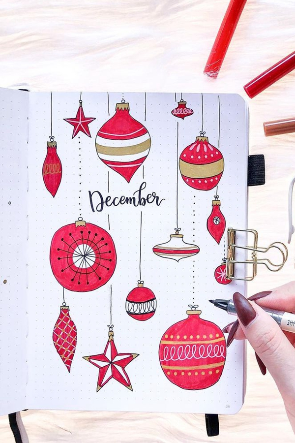 Red and Gold Dripping Ornaments - December Bullet Journal Ideas - Cover Page for December