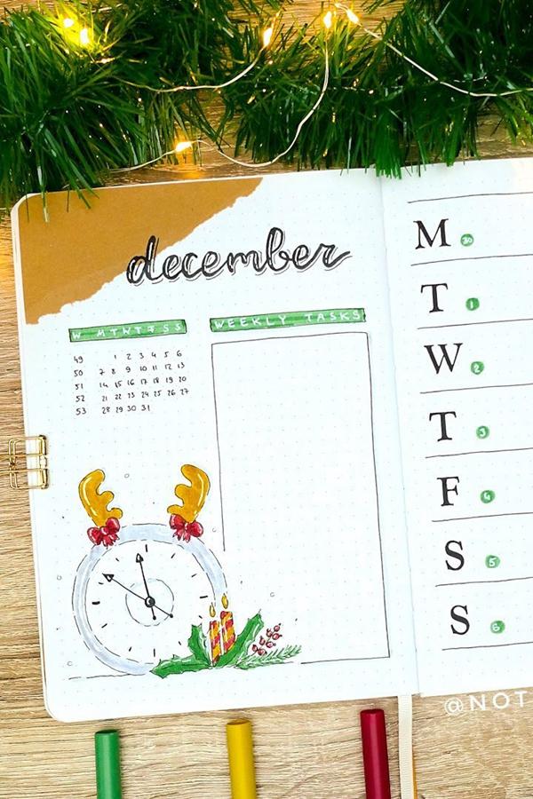 Reindeer Clock Doodle Weekly Spread - December Bullet Journal Ideas - Weekly Spread for December