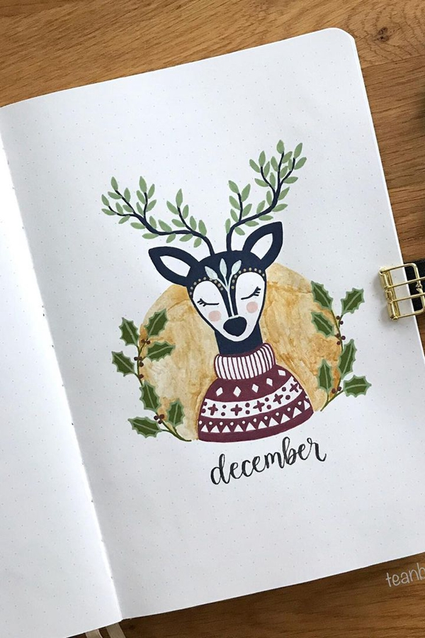 Reindeer in a Sweater - December Bullet Journal Ideas - Cover Page for December
