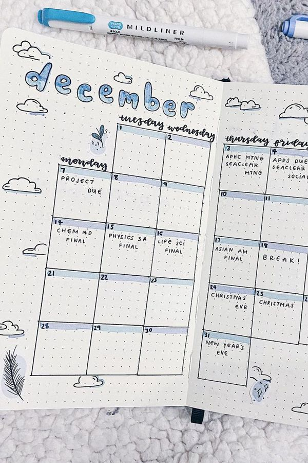 Revamp an Old Spread - December Bullet Journal Ideas - Monthly Pages for December