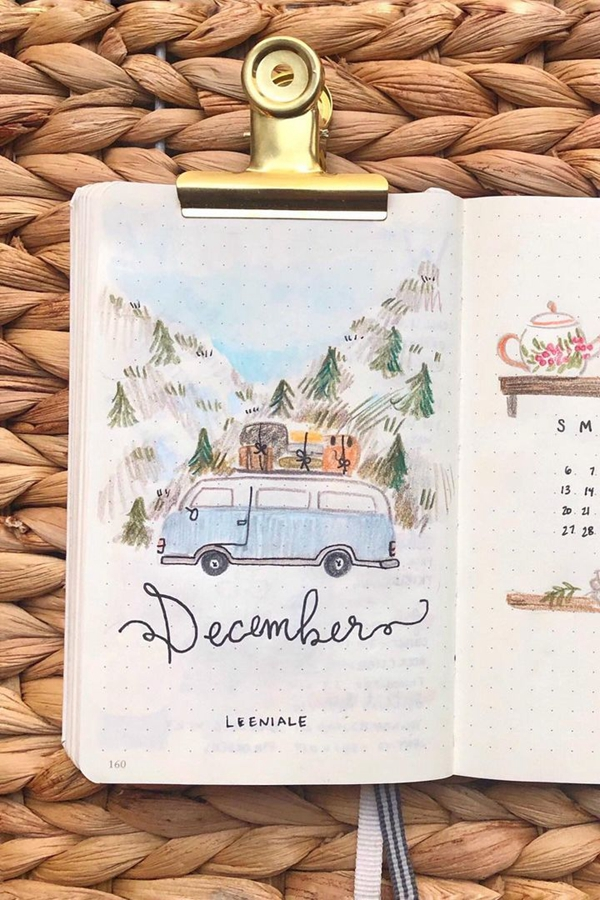 Road Trip Monthly - December Bullet Journal Ideas - Cover Page for December