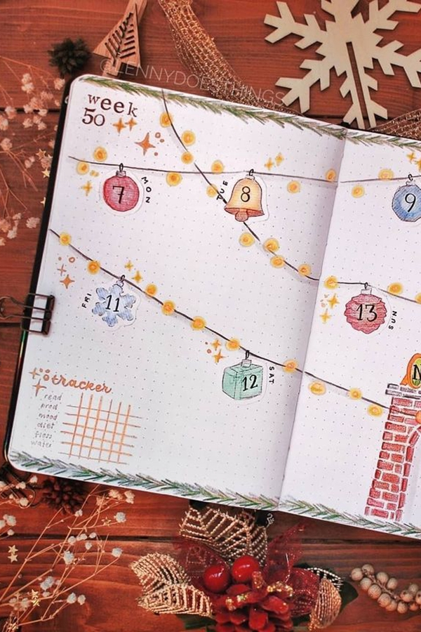 Separate Days In Your Weekly Spread with String Lights - December Bullet Journal Ideas - Weekly Spread for December