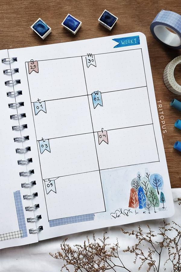 Simple Page Flag December Weekly Spread - December Bullet Journal Ideas - Weekly Spread for December