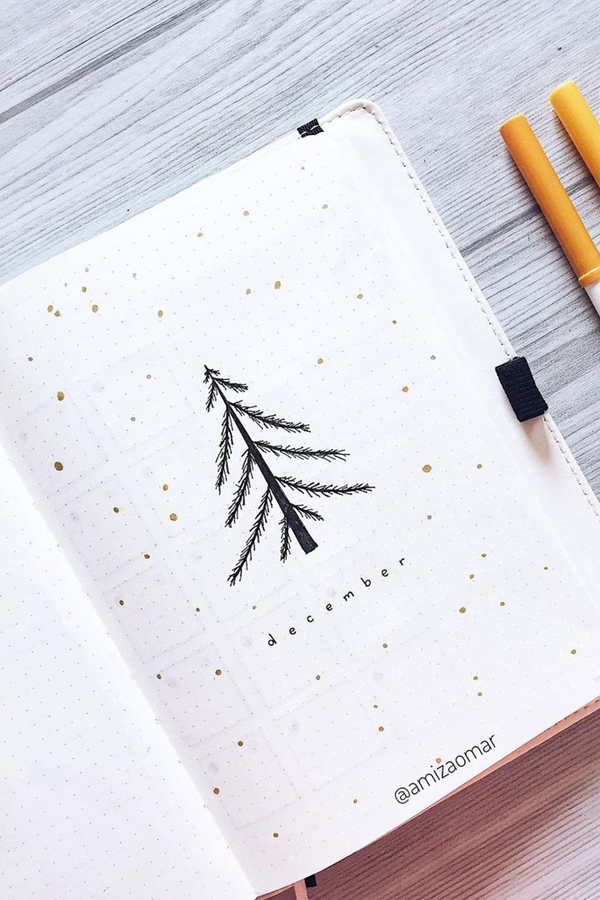Simple to Draw Christmas Tree - December Bullet Journal Ideas - Cover Page for December