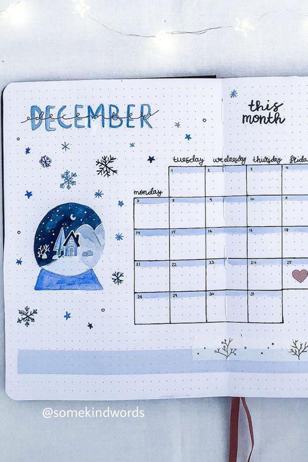 Snow Globe Bullet Journal Design Idea - December Bullet Journal Ideas - Monthly Pages for December