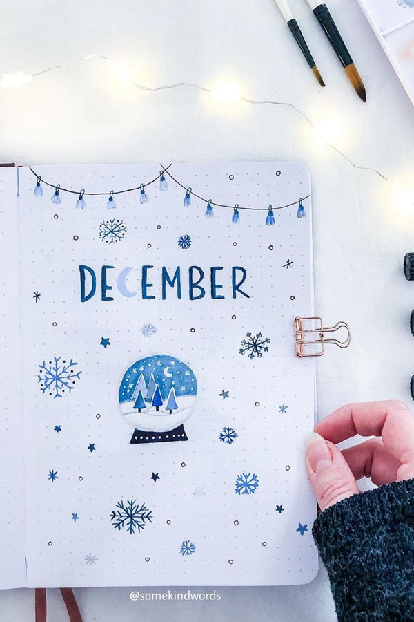 Soft Blue Snowglobe - December Bullet Journal Ideas - Cover Page for December