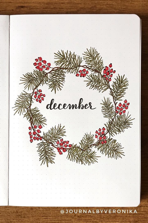 Spruce Branch Large Wreath - December Bullet Journal Ideas - Cover Page for December