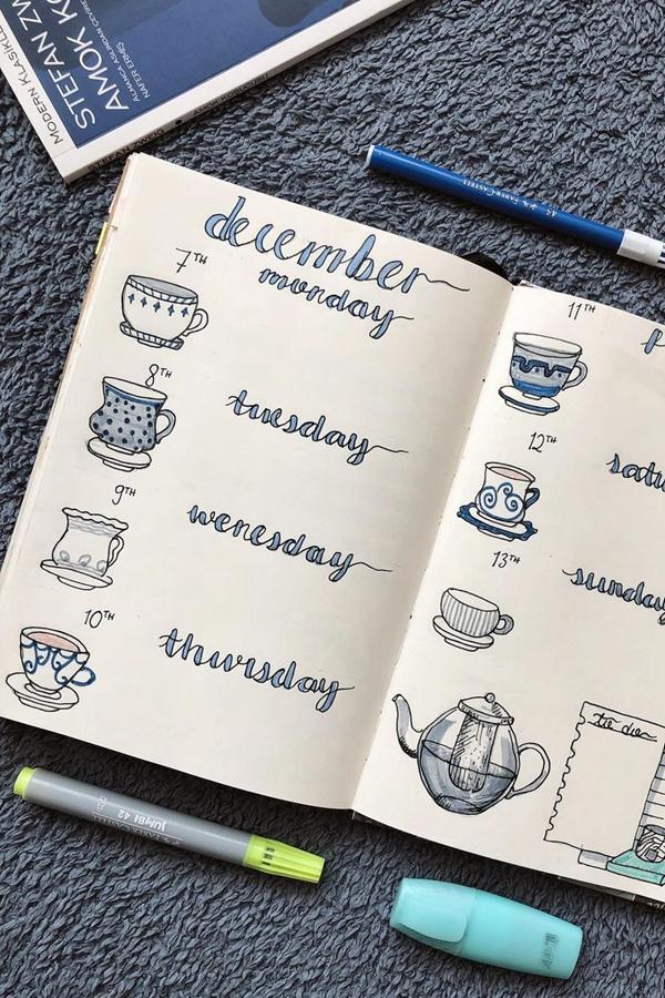 Teacup Weekly Spread Design - December Bullet Journal Ideas - Weekly Spread for December