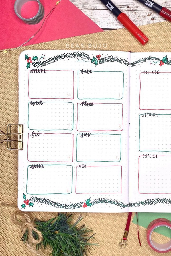 Themed Task Boxes For Bujo Organizing - December Bullet Journal Ideas - Weekly Spread for December