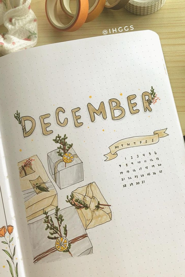 Tiny Calendars and Presents in this Creamsicle Spread - December Bullet Journal Ideas - Cover Page for December