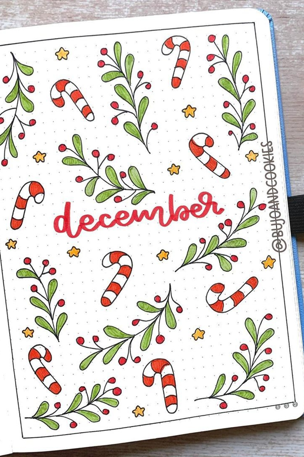 Traditional Candy Canes and Holly Branch - December Bullet Journal Ideas - Cover Page for December