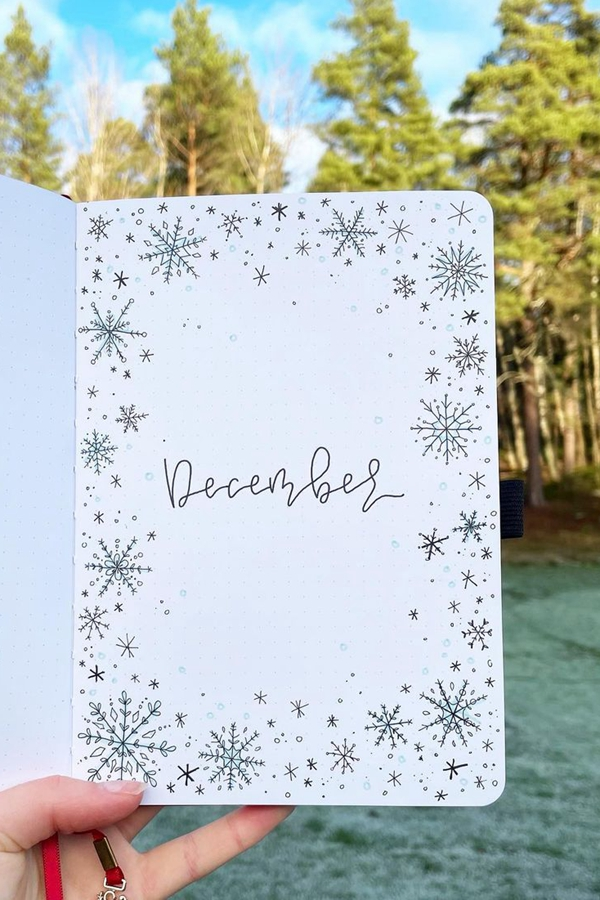 Unique Snowflake Patterns - December Bullet Journal Ideas - Cover Page for December