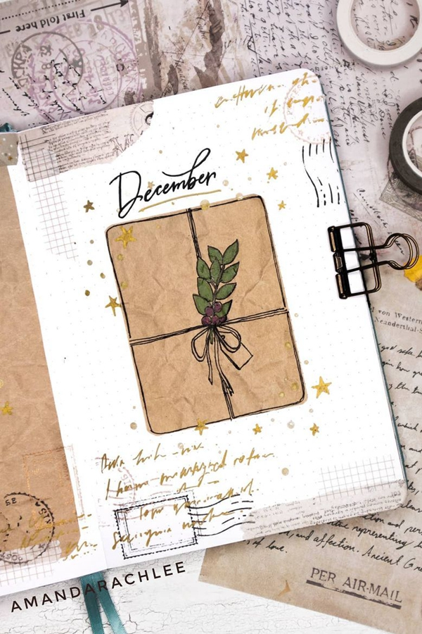 Unwrap your Bullet Journal with this Perfect Bujo - December Bullet Journal Ideas - Cover Page for December