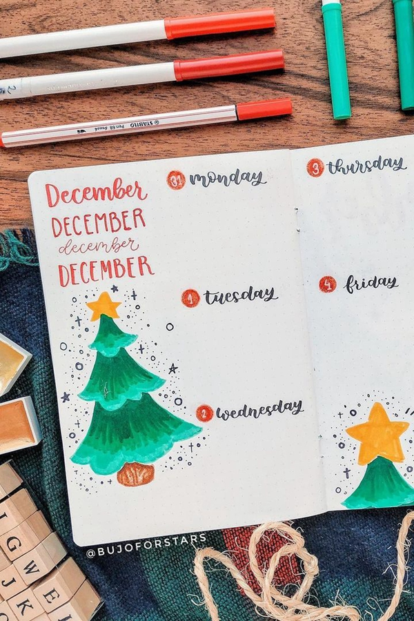 Use Festive Doodles to Break Up the Pages - December Bullet Journal Ideas - Weekly Spread for December
