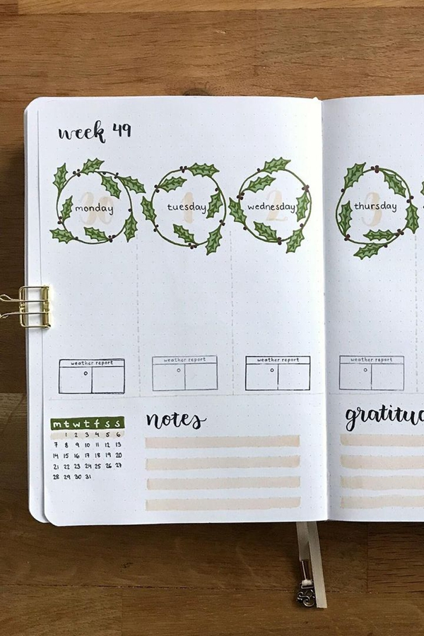 Weather Report, Holly Wreaths, Oh My! - December Bullet Journal Ideas - Weekly Spread for December