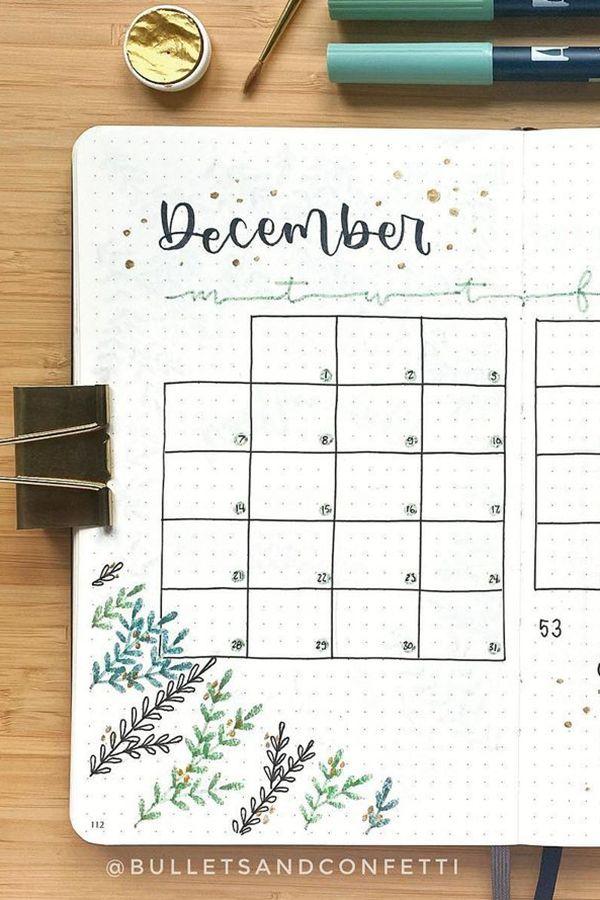 Winter Greens December Bullet Journal - December Bullet Journal Ideas - Monthly Pages for December