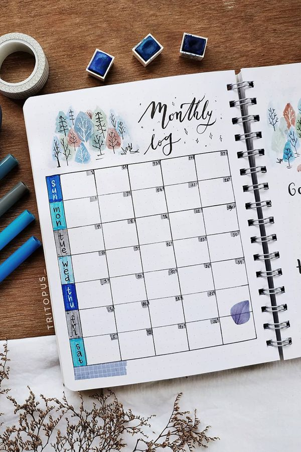 Winter Trees Doodle - December Bullet Journal Ideas - Monthly Pages for December