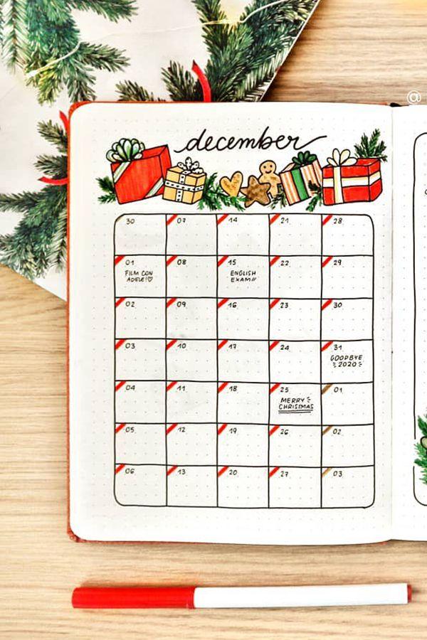 Wreath Framed Expense List - December Bullet Journal Ideas - Monthly Pages for December